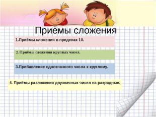 Приёмы сложения 1.Приёмы сложения в пределах 10. 3.Прибавление однозначного ч