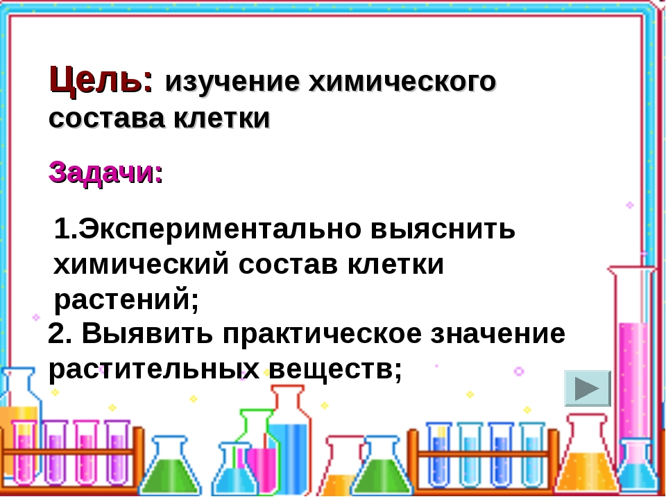 Цель: изучение химического состава клетки Задачи: 1.Экспериментально выяснить...