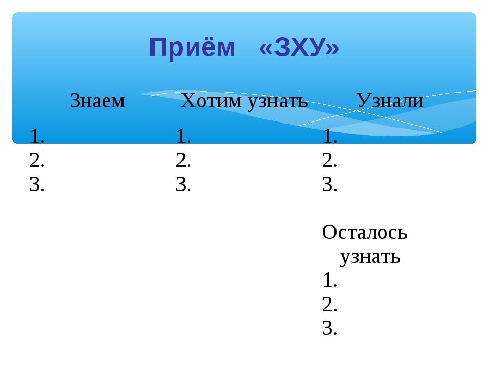 Приём «ЗХУ» ЗнаемХотим узнатьУзнали 1. 2. 3.1. 2. 3.1. 2. 3. Осталось узн...