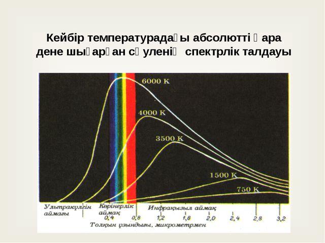 Кейбір температурадағы абсолютті қара дене шығарған сәуленің спектрлік талдауы