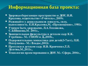 Информационная база проекта: Здоровьесберегающее пространство в ДОУ, Н.И. Кр