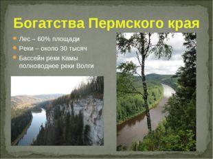 Богатства Пермского края Лес – 60% площади Реки – около 30 тысяч Бассейн реки