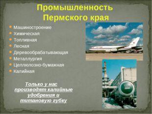 Промышленность Пермского края Машиностроение Химическая Топливная Лесная Дере