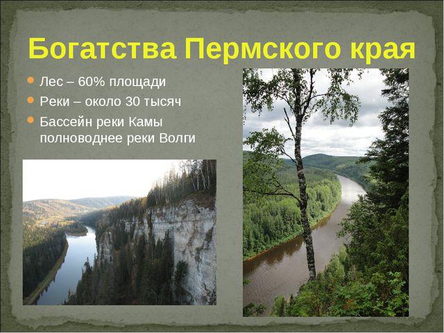 Богатства Пермского края Лес – 60% площади Реки – около 30 тысяч Бассейн реки...