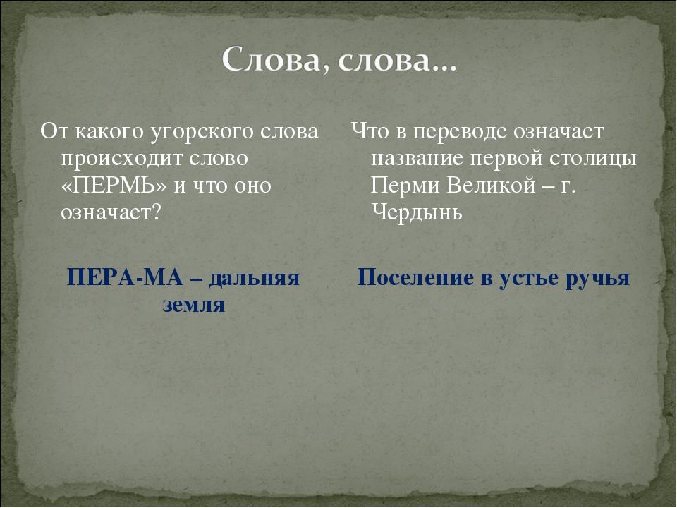 От какого угорского слова происходит слово «ПЕРМЬ» и что оно означает? ПЕРА-М...