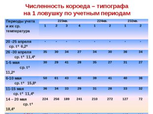 Численность короеда – типографа на 1 ловушку по учетным периодам Периоды учет