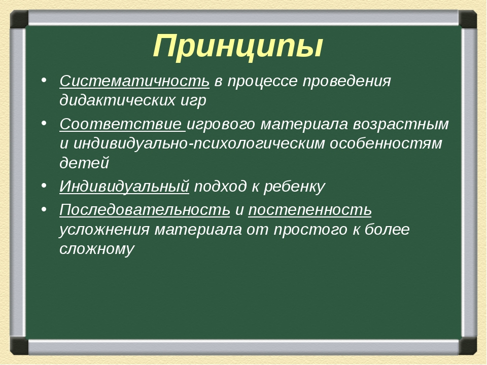 Принципы Систематичность в процессе проведения дидактических игр Соответствие...