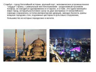 Стамбул- город богатейшей истории, крупный порт, экономическое и промышленно