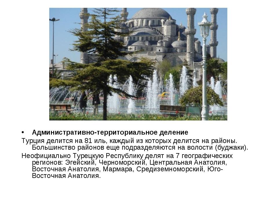 Административно-территориальное деление Турция делится на 81 иль, каждый из к...
