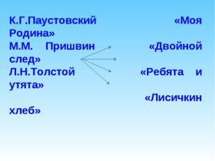 К.Г.Паустовский «Моя Родина» М.М. Пришвин «Двойной