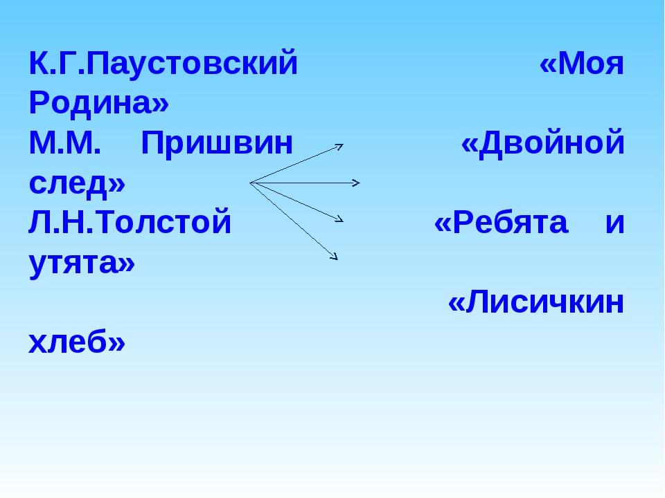 К.Г.Паустовский «Моя Родина» М.М. Пришвин «Двойной...