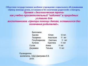 Областное государственное казённое учреждение социального обслуживания «Цент