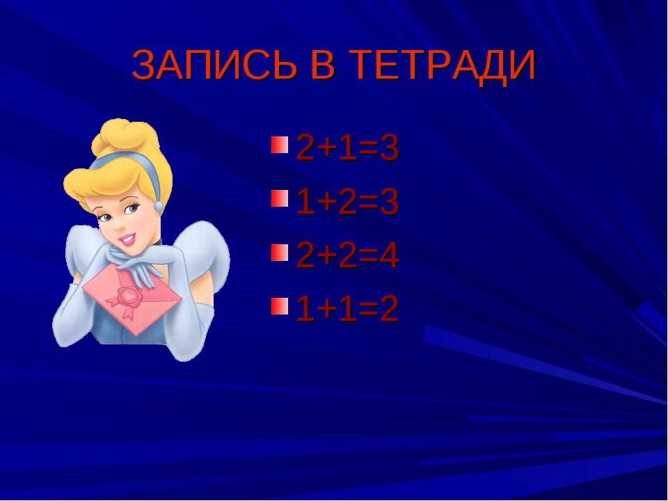 ЗАПИСЬ В ТЕТРАДИ 2+1=3 1+2=3 2+2=4 1+1=2