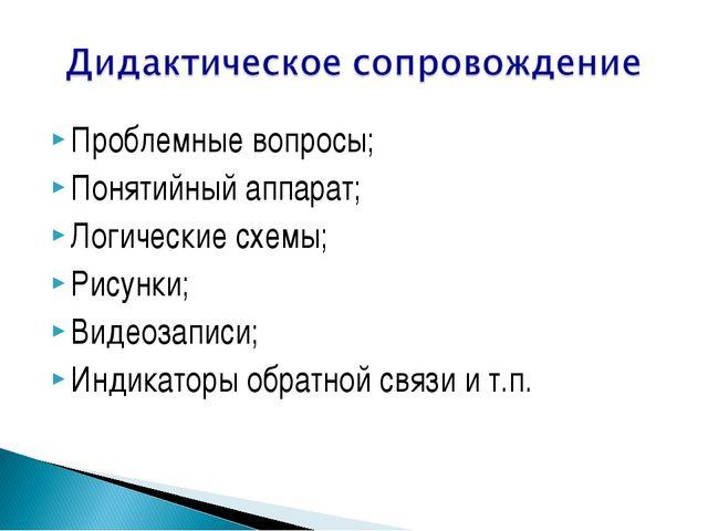 Проблемные вопросы; Понятийный аппарат; Логические схемы; Рисунки; Видеозапис...