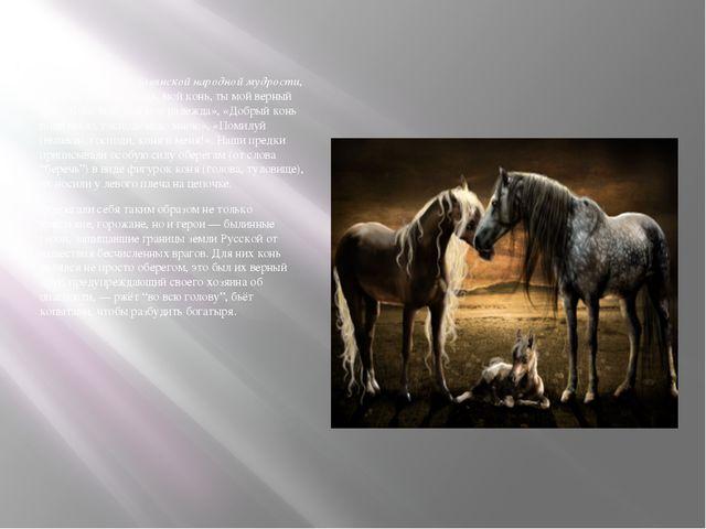 Находим слова вславянской народной мудрости, которая гласит: «Конь, мой кон...