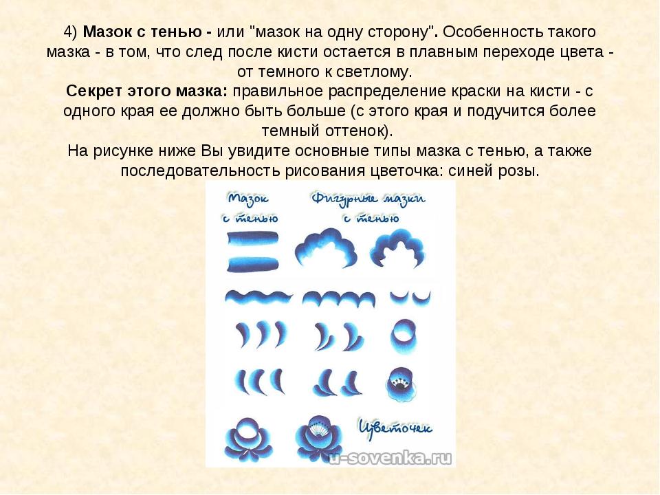 "4)Мазок с тенью -или ""мазок на одну сторону"".Особенность такого мазка - в..."