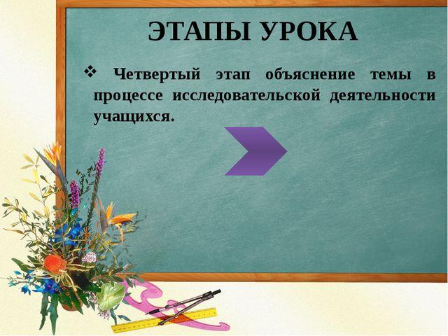 ЭТАПЫ УРОКА Четвертый этап объяснение темы в процессе исследовательской деяте...