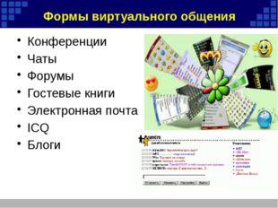 Формы виртуального общения Конференции Чаты Форумы Гостевые книги Электронная