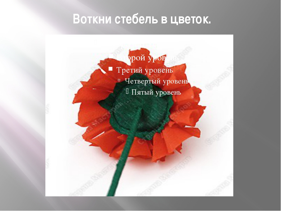Воткни стебель в цветок.