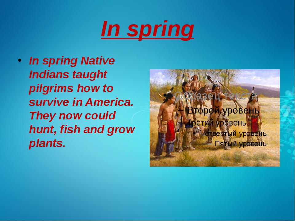 In spring In spring Native Indians taught pilgrims how to survive in America....