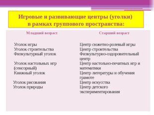 Игровые и развивающие центры (уголки) в рамках группового пространства: Младш