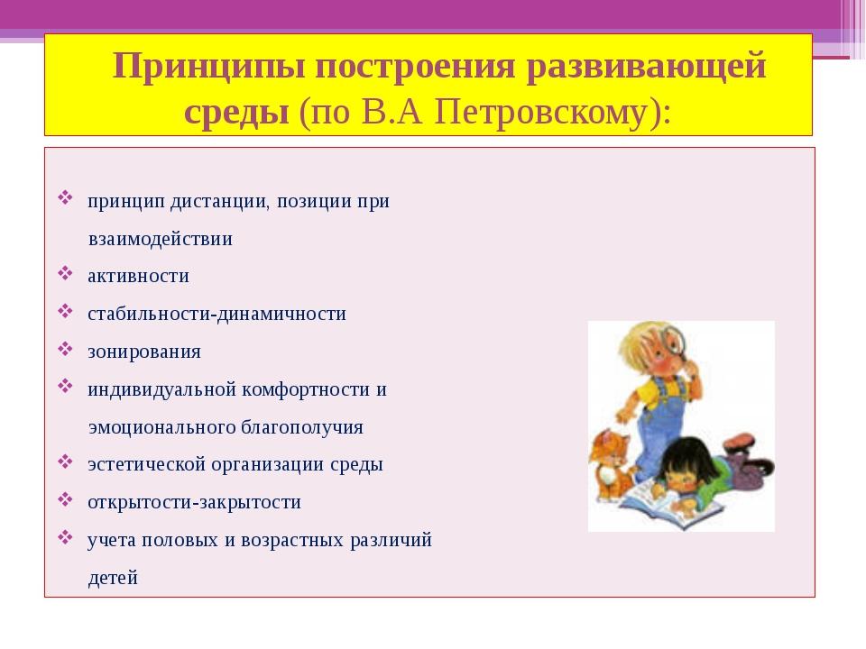 Принципы построения развивающей среды (по В.А Петровскому): принцип дистанци...