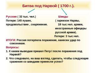 Битва под Нарвой ( 1700 г.). Русские ( 32 тыс. чел.) Шведы Потери: 145 пушек,