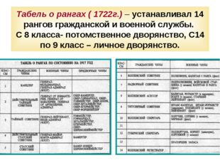 Табель о рангах ( 1722г.) – устанавливал 14 рангов гражданской и военной служ