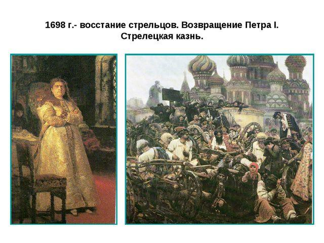 1698 г.- восстание стрельцов. Возвращение Петра I. Стрелецкая казнь.