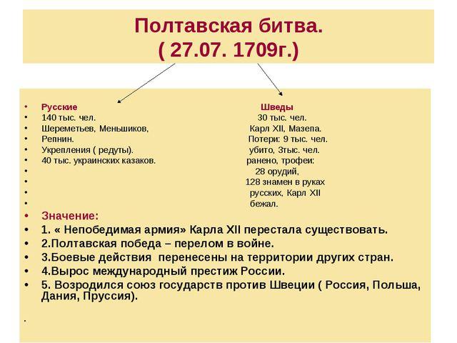 Полтавская битва. ( 27.07. 1709г.) Русские Шведы 140 тыс. чел. З0 тыс. чел. Ш...