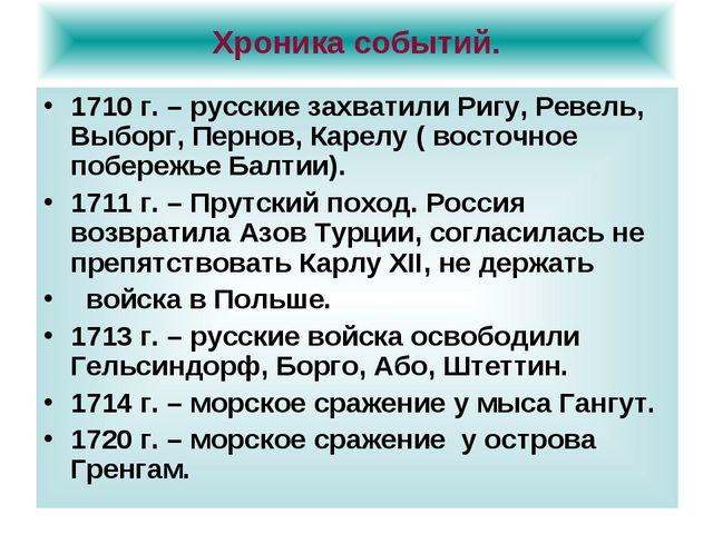 Хроника событий. 1710 г. – русские захватили Ригу, Ревель, Выборг, Пернов, Ка...