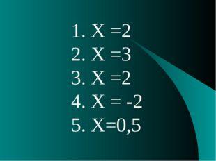 1. X =2 2. X =3 3. X =2 4. X = -2 5. X=0,5