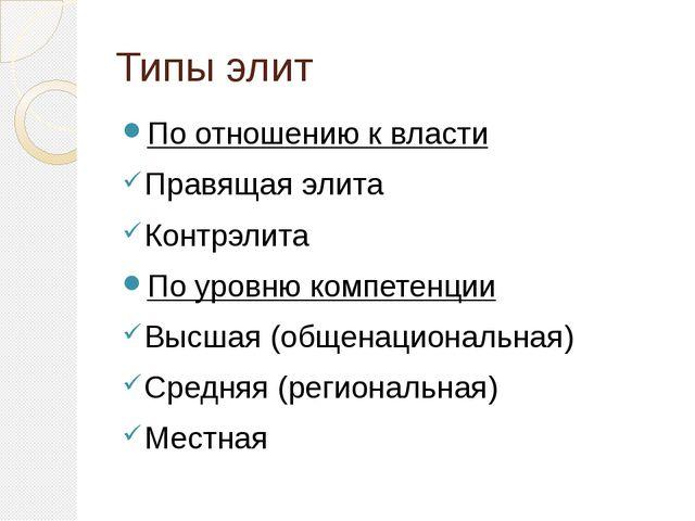 Типы элит По отношению к власти Правящая элита Контрэлита По уровню компетенц...