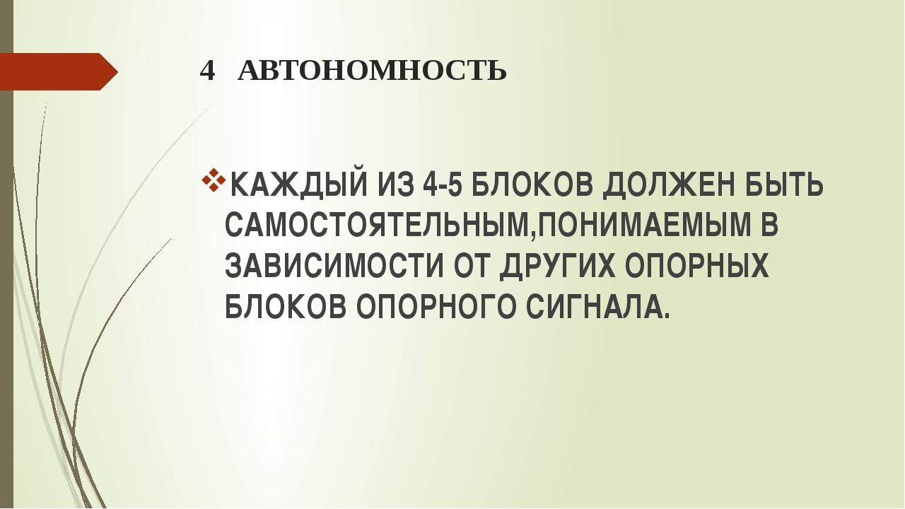 4 АВТОНОМНОСТЬ КАЖДЫЙ ИЗ 4-5 БЛОКОВ ДОЛЖЕН БЫТЬ САМОСТОЯТЕЛЬНЫМ,ПОНИМАЕМЫМ В...