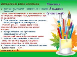 Шамсуддинова Елена Викторовна Как у Вас получается «справляться» с нашим 5 к
