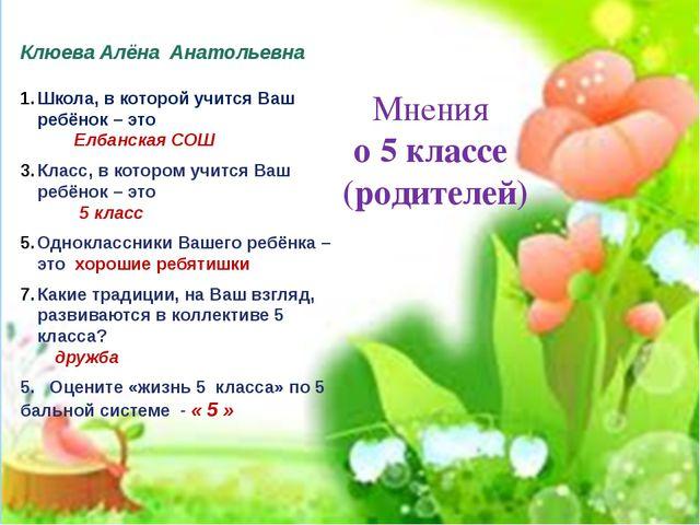 Мнения о 5 классе (родителей) Клюева Алёна Анатольевна Школа, в которой учит...