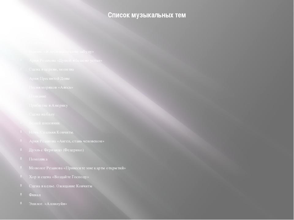 Список музыкальных тем Пролог Отпевание Романс «Я тебя никогда не забуду» Ари...