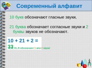 Современный алфавит 10 букв обозначают гласные звуки, 21 буква обозначает со