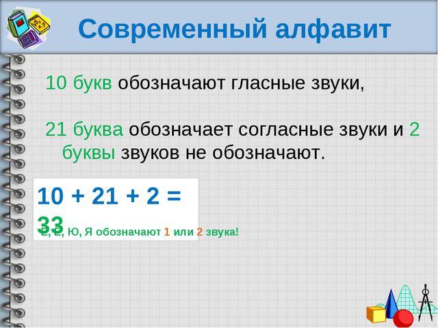 Современный алфавит 10 букв обозначают гласные звуки, 21 буква обозначает со...