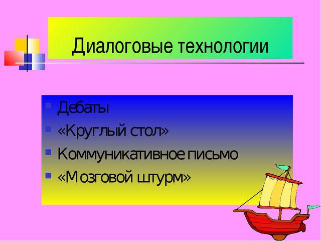 Диалоговые технологии Дебаты «Круглый стол» Коммуникативное письмо «Мозговой...
