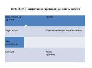 ПРОТОКОЛ испытания строительной длины кабеля Заводской номер барабана   Гр