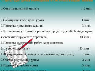 Структура урока обобщения и систематизации знаний Организационный момент 1-2