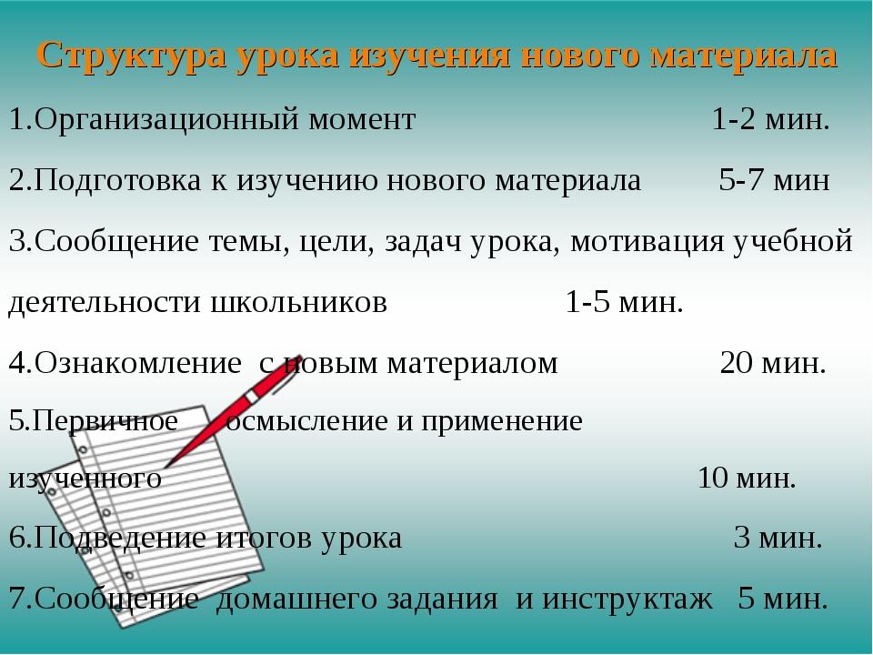 Структура урока изучения нового материала Организационный момент 1-2 мин. Под...