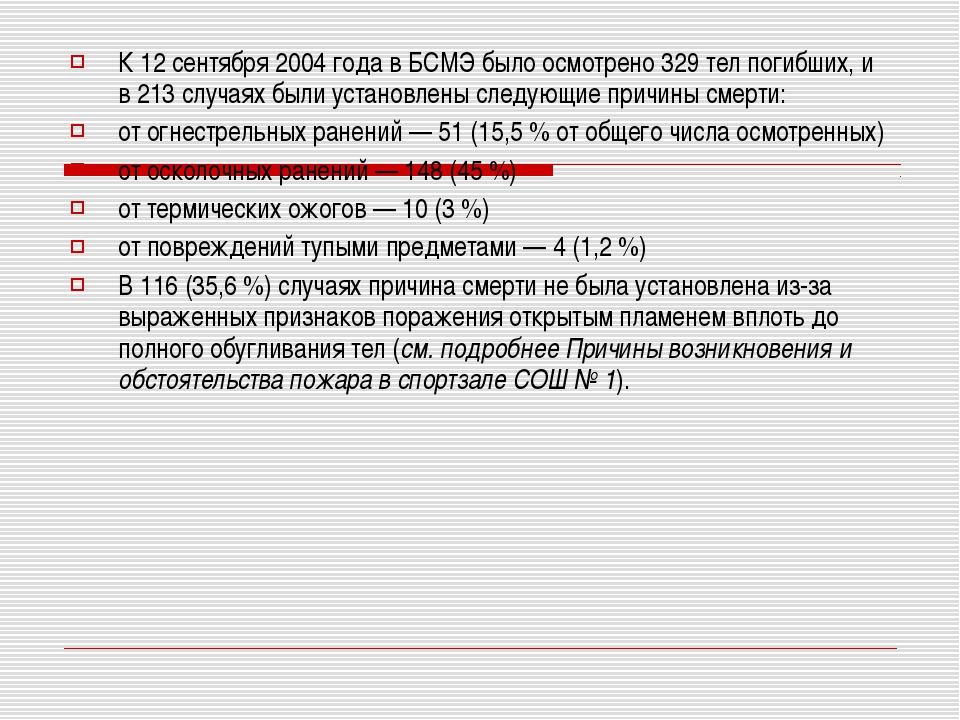 К 12 сентября 2004 года в БСМЭ было осмотрено 329 тел погибших, и в 213 случа...