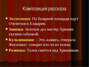 Композиция рассказа Экспозиция: По базарной площади идут Очумелов и Елдырин.