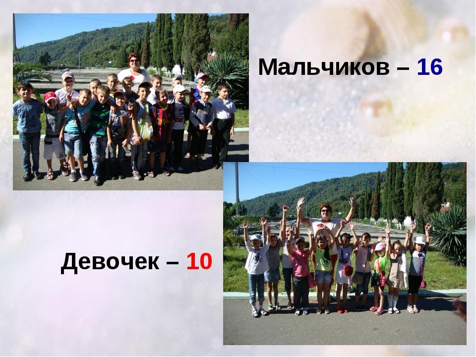 Мальчиков – 16 Девочек – 10