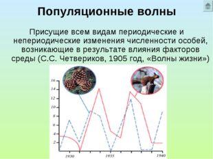 Популяционные волны Присущие всем видам периодические и непериодические измен