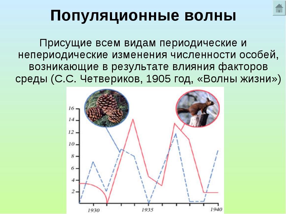 Популяционные волны Присущие всем видам периодические и непериодические измен...