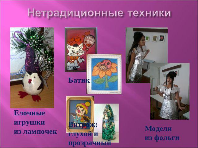 Елочные игрушки из лампочек Батик Витраж: глухой и прозрачный Модели из фольги