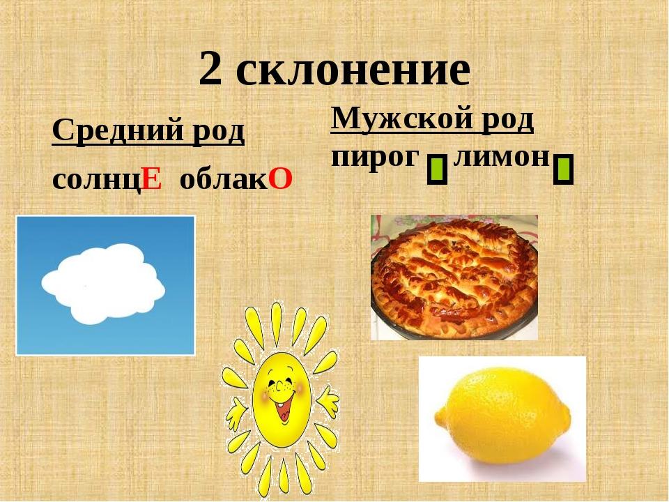 2 склонение Средний род солнцЕ облакО Мужской род пирог лимон